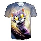 BZPOVB T-Shirts Frescos de Moda Unisex Camisetas de Manga Corta 3D Creativo Impreso Observado Grande Sonriente de La Personalidad del Gato Gráficos Camisetas de La Moda