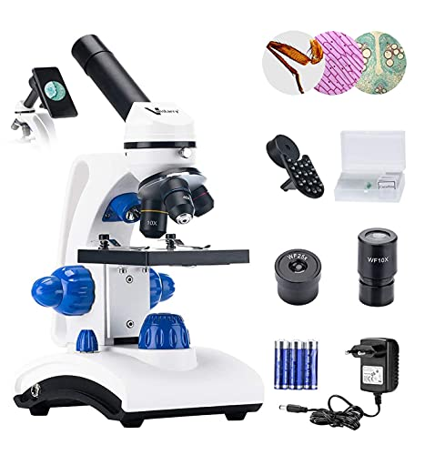 Vanstarry Beginners Microscope Kit 40X-1000X for Kids & Students, Dual LED Lights and Cordless Capability, Illumination Lab Compound Monocular Microscopes with Optical Glass Lenses & 12 Slides