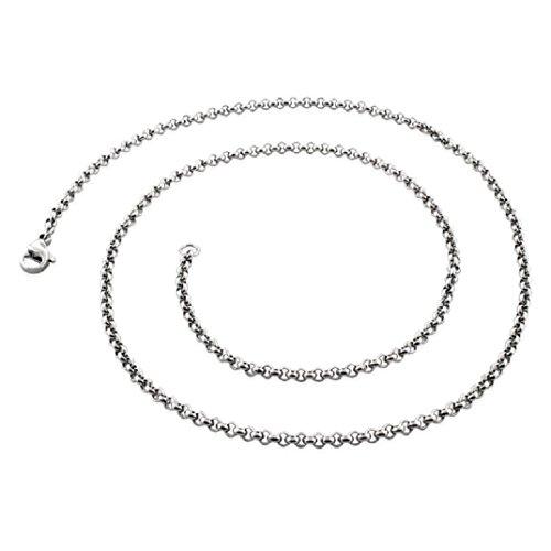 AKKi Silber Kette für Anhänger aus Massiven 316L Edelstahl gestempelt mit Karabinerverschluss in 45-90cm Länge und 1,5mm Breite,Einfache Schmal Klassiche Uni Stabile Erbskette Silber 55cm