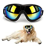 Outamateur Dog Sunglasses Dog Goggles Pet Glasses Pet Eyewear with Adjustable Strap for Travel Skiing Anti-Fog Dog Snow Goggles Pet Goggles UV Proof Windproof Dustproof (Black)