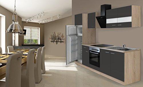 respekta inbouw keuken kitchenette 270 cm eiken Sonoma ruw grijs incl. koelvriescombinatie Ceran