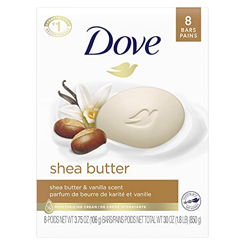 Dove Purely Pampering Beauty Bar for Softer Skin Shea Butter More Moisturizing Than Bar Soap 3.75 oz 8 Bars