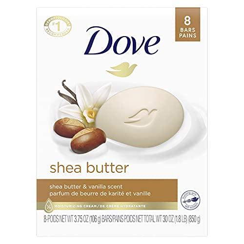 Dove Beauty Bar Gentle Skin Cleanser Moisturizing for Gentle Soft Skin Care Shea Butter More Moisturizing Than Bar Soap 3.75 oz 8 Bars