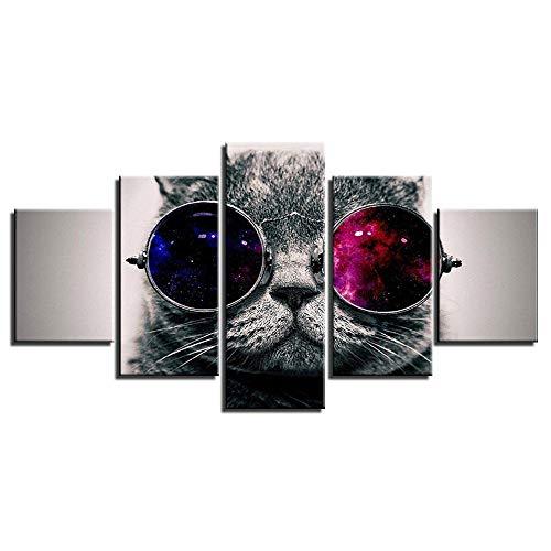 ZXYJJBCL Cuadro De Arte De Pared De Gato Azul con Gafas De Sol para Decoración del Hogar, Pinturas De 5 Piezas para Sala De Estar, Dormitorio, Decoración del Hogar