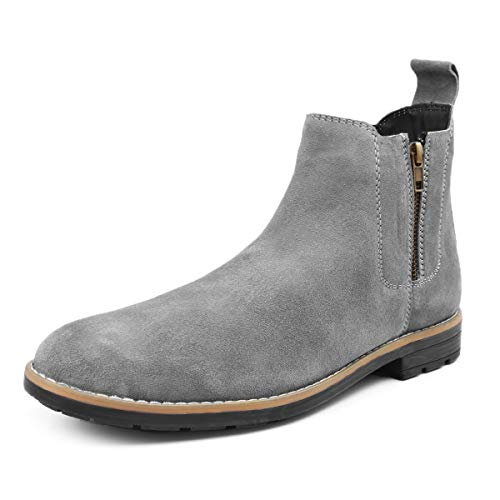 Bacca Bucci® Original Chelsea high end Urban Fashion Brewster Slip-on Boots Genuine Smooth Leather Suede for Men Grey