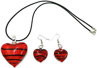 Ecloud Shop® Conjunto de Collar Pendientes Cristal Murano Corazón Rojo Nuevo
