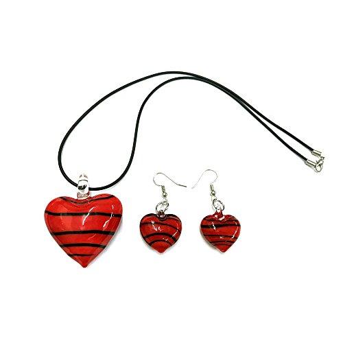 Ecloud Shop Conjunto de Collar Pendientes Cristal Murano Corazón Rojo Nuevo