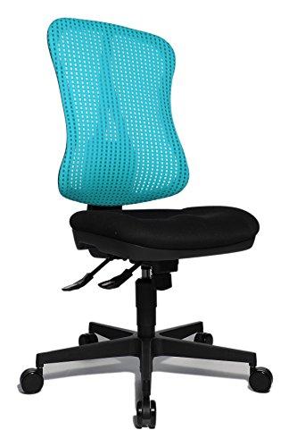 Topstar Head Point SY ergonomischer Bürostuhl, Schreibtischstuhl, Muldensitz (höhenverstellbar), Stoffbezug hellblau / türkis / schwarz