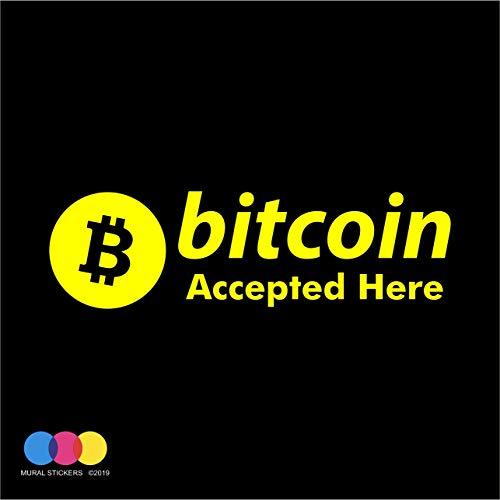 Adhesivo Bitcoin – Pagos criptovalute – Vitrinas – Ventanas – Cristales – Tienda – Paredes – Paneles – CRIPTO Actividad comercial – Vinilo de alta calidad amarillo 1 unidad 58 x 17 cm