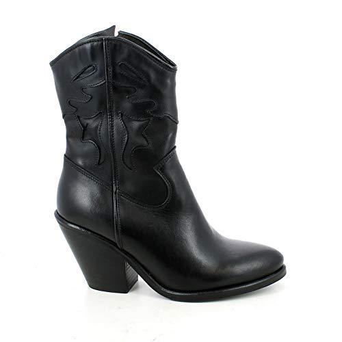 Firenze Texana Leder schwarz mit Absatz: 8, Schwarz - Schwarz - Größe: 41 EU