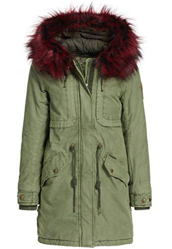 khujo Umara2 Damen Parka Mantel Winterjacke Jacke Wintermantel Solid Padded PAL-Olive (S)