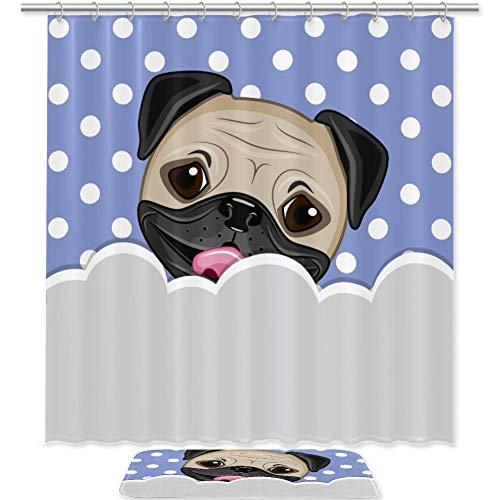 Bennigiry - Juego de cortina de ducha con diseño de perro carlino y cortina de ducha de poliéster con 12 ganchos