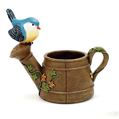 Macetas de Interior con platillo Pájaro Pájaro Suculento Micro Paisaje Pequeño Pot Maceta Inicio Oficina Decoración Artesanía Decoración Planta Jardín Resina Flor (Color : B)