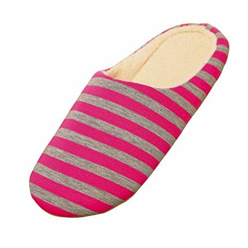 LUOEM Pantoufles d'intérieur Unisexe Doux Chaud Rayures Pantoufles Automne Hiver Coton Pantoufles pour Hommes Femmes - Taille 38/39 (Rose Rouge)