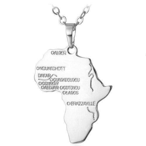 B-Creative Goud Zwart Of Zilver Afrika Ketting Hanger Ketting Rasta Reggae Afrikaanse Afro Kaart
