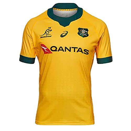 YAQA Australia Home/Away Rugby Jersey, Equipo Nacional De Australia Sevens Rugby T-Shirts, Polo De Manga Corta para Hombres con Bordado De Moda Polos yellow-4XL