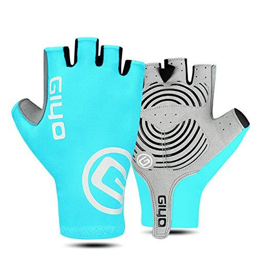Mdsfe Cycling Gloves Half Full Finger Gel Sports Racing Men Women's Bike Glove Road Bike Gloves MTB Bicycle Gloves - Blue Half Finger,XXL