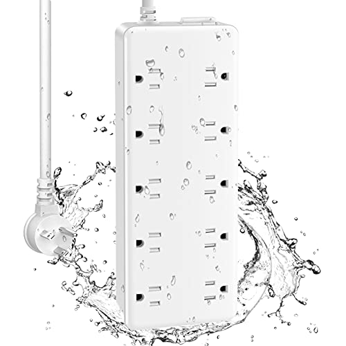 CCCEI 10 Outlets Outdoor Power Strip Weatherproof, 1700J Surge Protector Waterproof Multiple Outlet Exterior Power Strip, Mountable 6 FT 15Amp Outside Extension Outlet with Flat Plug.