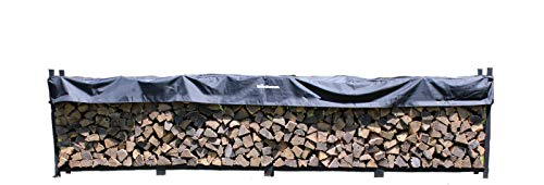 The Woodhaven 16 Foot Firewood Log Rack with Cover