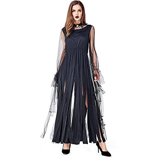 Uteruik Disfraz de bruja para cosplay con flecos y anillo para el cuello, disfraz de fiesta de Navidad para mujer