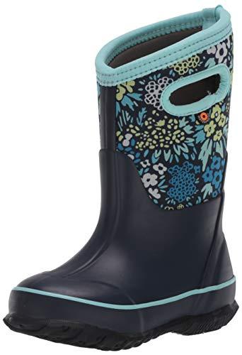 Bogs Girls Classic High Waterproof Insulated Rubber Neoprene Rain Boot, Big Nw Garden-Blue, 3 Little Kid