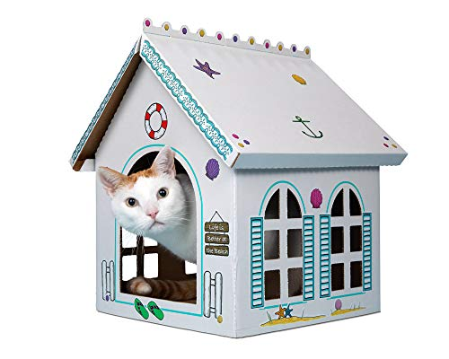 Breezy Beach Cottage - Beach Lake Vacation Playhouse for Cats, Kittens, Rabbits & Bunny. Cardboard Box House Condo Cave Furniture Bed Includes Giant Sticker Sheet for Decorating