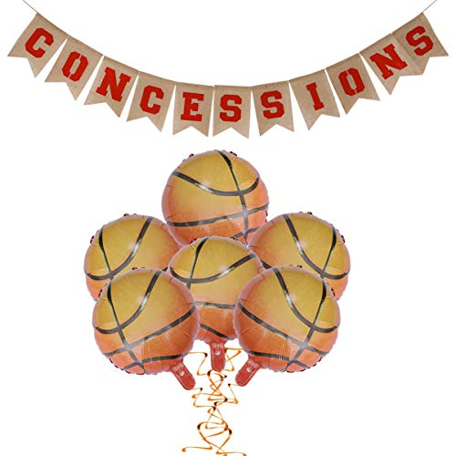 ifundom Banderines de Baloncesto con 6 Piezas de 18 Pulgadas Globos de Baloncesto Cumpleaños Rústico Arpillera Banner Baloncesto Cumpleaños Suministros Fiesta Favores de Fiesta Regalo