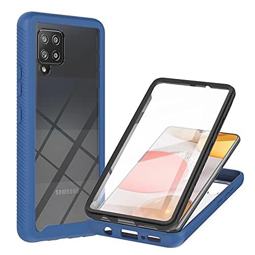TYWZ Outdoor Hülle für Samsung Galaxy A22 5G,360 Grad Schutzhülle Handyhülle Bumper Case Cover mit Integriertem Displayschutz-Blau