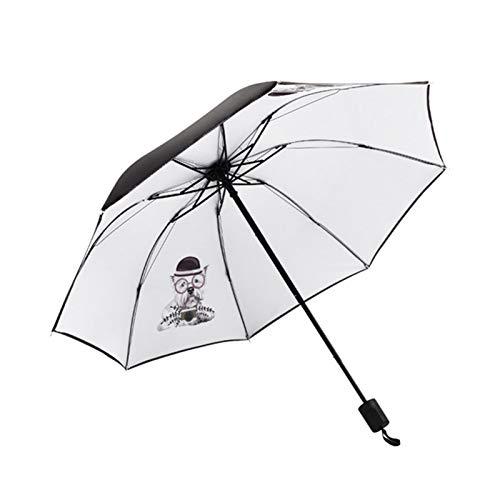 YINGBBH Paraguas Cara Gato Grande Paraguas for Las Mujeres de los Hombres Anti-UV Precioso Perro de Dibujos Animados Paraguas Plegable Paraguas Rainy Regalo (Color : YD200068MT2)