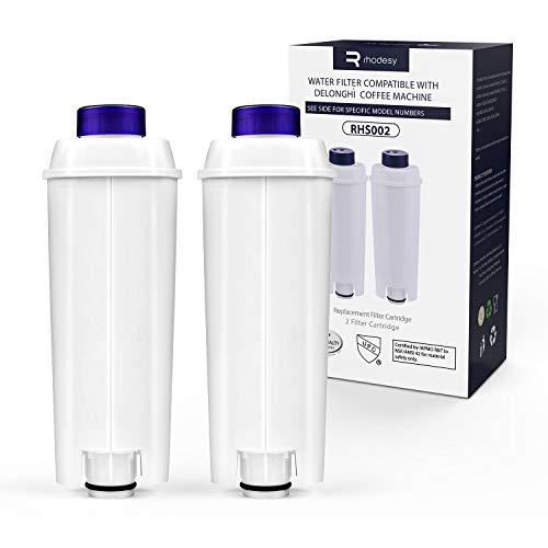 Rhodesy Wasserfilter für Delongie Kaffeemaschinen DLSC002, Delongie Wasserfilter Filterpatrone Aktiv Kohle Weichspüler, Kompatibel mit Delongie ECAM, Esam, ETAM, BCO, EC. (2er Pack)