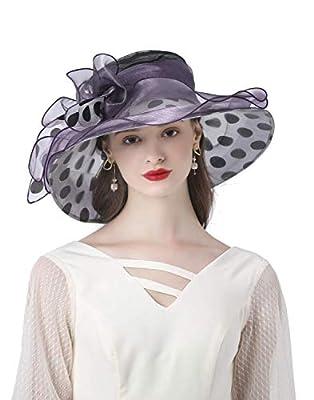 ORIDOOR Women's Organza Church Kentucky Derby Hat Fascinator Bridal Tea Party Wedding Dress Wide Brim Bowler Hat