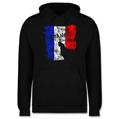 Shirtracer Fußball-Europameisterschaft 2021 - France mit Hahn Vintage - 4XL - Schwarz - Geschenk - JH001 - Herren Hoodie und Kapuzenpullover für Männer