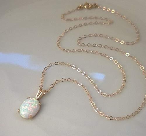 DYFUHO Collares De Piedra Natal Creados, Collar con Colgante De Ópalo para Mujeres Y Niñas, Joyería De Ópalo para Mujeres (2021, Serie O-Chain)