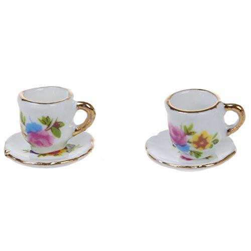 TOOGOO(R) 8 Stueck Miniatur Puppenhaus Ess Geschirr Porzellan Tee Set Teller Tasse Teller rosa Rose