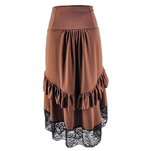 Qbuds Adjustable Ruffle High Low Gothic Skirt Long Vintage Fishtail Steampunk Corset Skirt Long Dress for Women, Brown, S steampunk buy now online