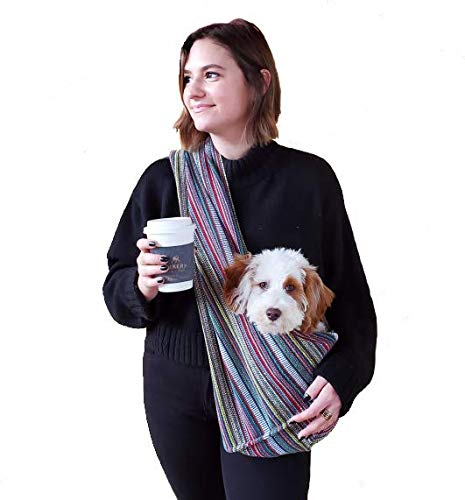 Walking Palm Dog Sling Carrier 100% Organic Cotton for Cats Too (Bohemian Multi-Color)