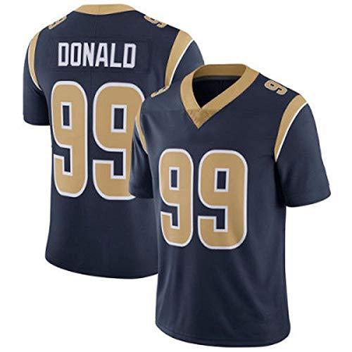 Rugby Jersey Donald 99# Rams T-Shirts voor de mens, Wit Blauw Navy Blauw Geschikt voor studenten Jonge volwassenen Goede Match Polyester Fiber Korte mouw Multi-Colored Ademend
