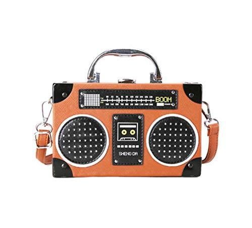 QING Bolso Clásico de Diseño de Forma de Radio Para Mujer con Correa Para el Hombro y Broche de Metal (Marrón)