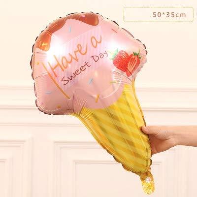 Balloon 4 Stück Donut Süßigkeit Eiscreme Schmiedefolienballon Glad Geburtstag Dekorationen großes aufblasbares Helium (EIS) Asun (Color : Pink Ice Cream)