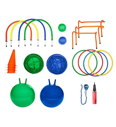 HearthSong Hopstacle! 23-Piece Hop Ball Obstacle Course Set with Stopwatch, for Kids' Outdoor Active Play