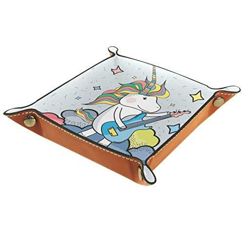 Haminaya Bandeja plegable de cuero para dados con broches para DnD, juegos de mesa, almacenamiento, lindo unicornio para jugar la guitarra