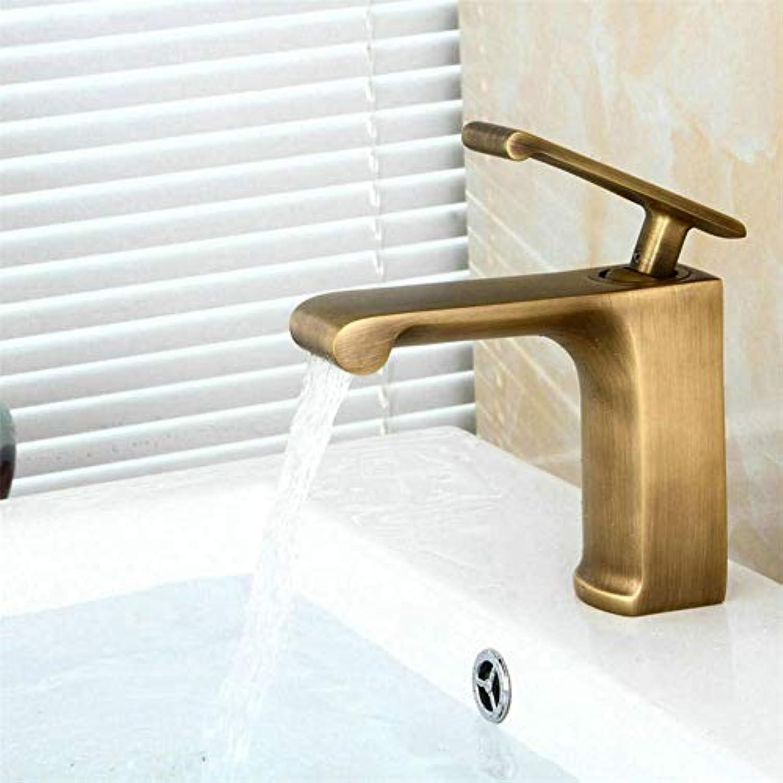 Bronze Antiker Wasserfall Messing Warmes und Kaltes Badezimmer Niedriges Einlochmontage Einhandwaschbecken Wasserhahn Waschbecken Wasserhahn