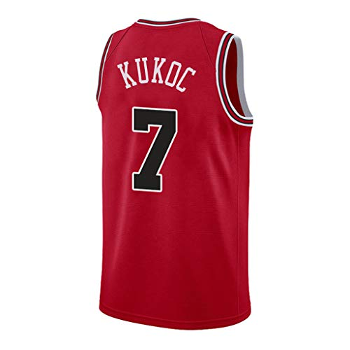 YHIU Herren-Basketballtrikot-Toni Kukoc Chicago Bulls # 7 Rot, Mesh-Basketball-Swingman-Trikot, großartiges Material-L