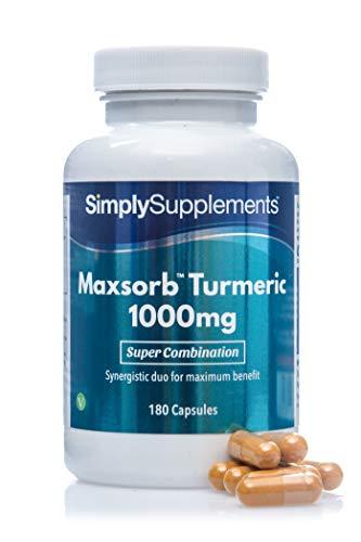 Cúrcuma 1000mg - Con pimienta negra Bioperine™ - ¡Bote para 3 meses! - Apto para veganos - 180 cápsulas - SimplySupplements