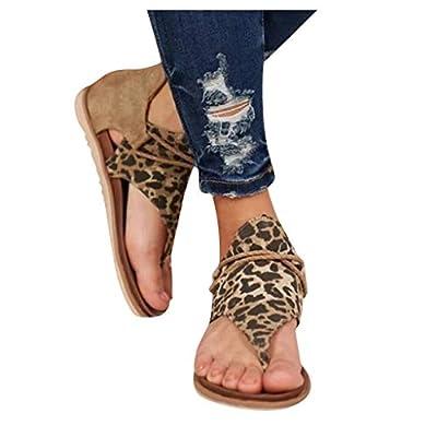 Summer Sandals for Women, Zyqzw Vintage Leopard Flip Flop Flat Heel Slip On Sandal with Zipper Casual Shoes