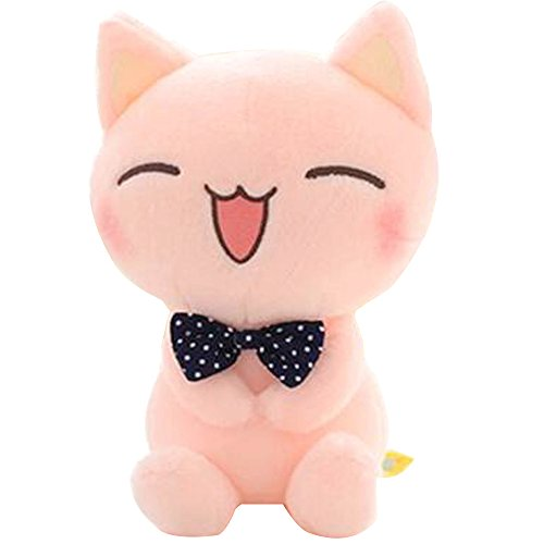 ECTY Cute Stuffed Plush Doll, 11' Sitting Height Soft Stuffed Pink Cat Plush Toy