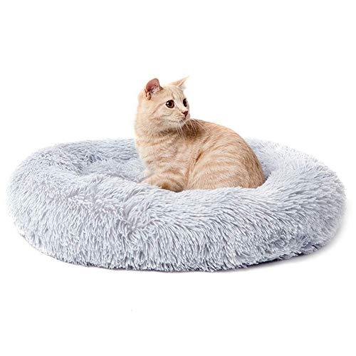 WYJW Donut Hundekatzenbett, Kunstpelz Hundebetten für mittelgroße kleine Hunde Selbsterwärmende runde Innenkissen-Kuschelhöhle, hundeberuhigendes Bett, rutschfeste Basis, waschbar-M-Gra