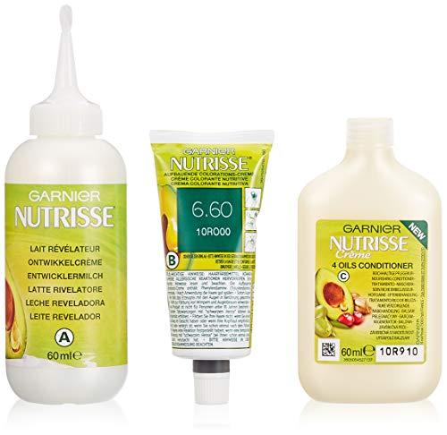 Garnier Nutrisse Creme Coloration Extra Intensiv-Rot 6.60 / Färbung für Haare für permanente Haarfarbe (mit 4 nährenden Ölen) - 3 x 1 Stück