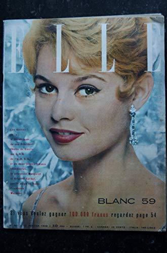ELLE 681 12 janv. 1959 Brigitte Bardot Cover + 4 p. - de Gaulle - Martha Gellhorn - robe mohair- 76 pages FASHION VINTAGE