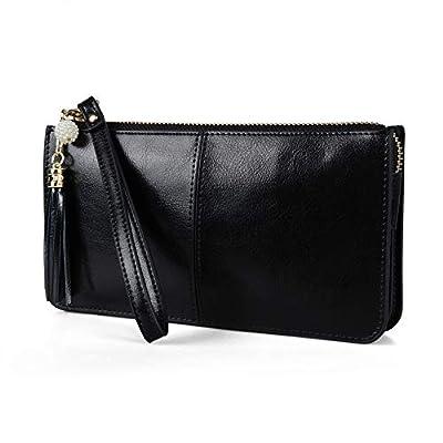 Befen Women Leather Zipper Phone Wallet with Card Holder/Cash Pocket/Wrist Strap